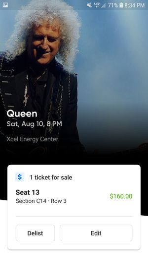 Queen 1 ticket for Sale in Alexandria, MN