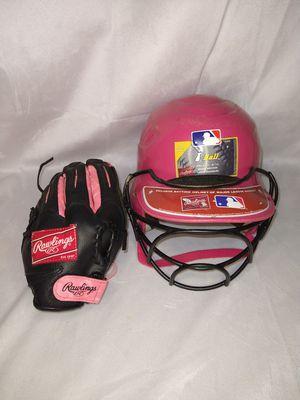 Girls Pink Softball Helmet & Glove for Sale in Duluth, GA