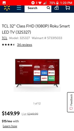 "32"" TCL Roku Smart Tv for Sale in Visalia, CA"
