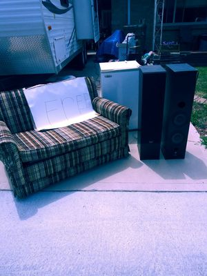 Pull out couch, mini fridge, speakers for Sale in Denver, CO