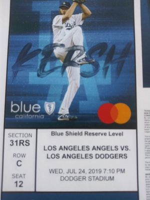 2 dodger tickets Wednesday, July 24, section 31RS, seats 12 and 13, Row C $40 a ticket for Sale in Baldwin Park, CA