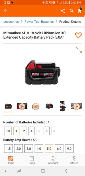Milwaukee 5.0ah battery brand new (firm price) for Sale in Oviedo, FL