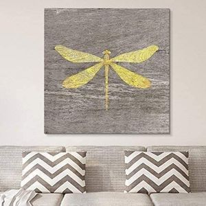 ((FREE SHIPPING)) square canvas wall art - yellow dragonfly wood effect canvas - giclee print gallery wrap modern home decor Painting like print for Sale in Diablo, CA