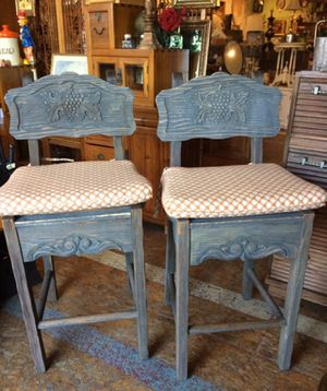 Vintage wood bar stools 18 by 44 and 30 to the seat $99 for Sale in San Diego, CA