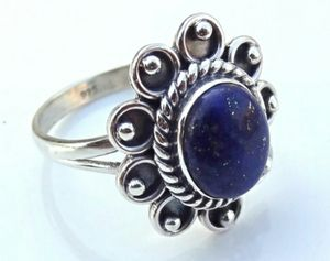 Lapis Lazuli Silver Stone Ring, 92.5% Solid Sterling Silver Ring for Sale in Wichita, KS