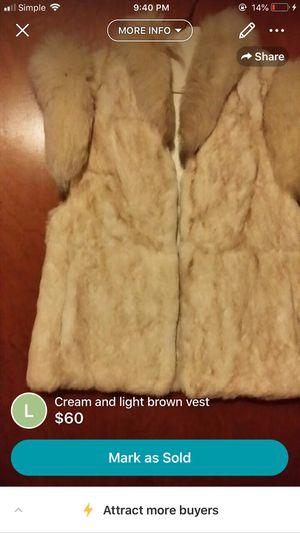 Light brown and cream fur vest for Sale in Detroit, MI