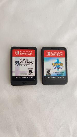 Super Smash Bros Ultimate and Pokemon Sword for Nintendo Switch for Sale in Davenport, FL