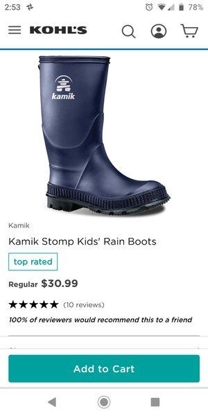 Boys Kamik rain boots for Sale in Olympia, WA