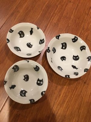 Set of 3 dishes small bowls cat and fish black and white for Sale in Sierra Madre, CA