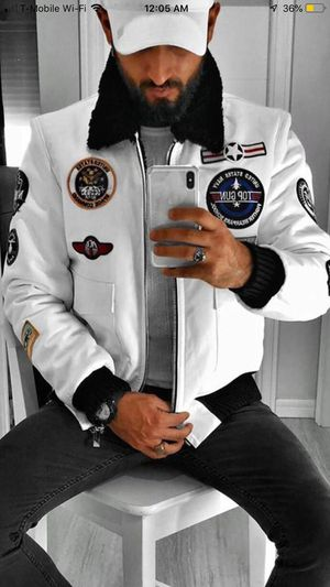 Men's white fashion bomber euro jacket all sizes price is firm serious buyers only pls for Sale in Los Angeles, CA