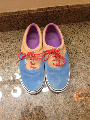 Blue and brown shoes with multicolored laces vans size 13 men for Sale in Laredo, TX
