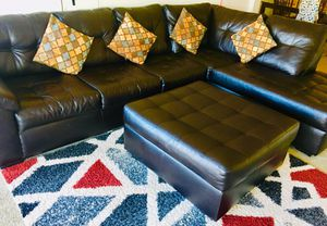 Leather couch sofa with ottoman excellent condition for Sale in Allentown, PA