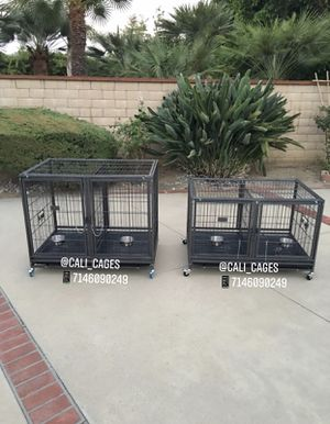 Dog pet cage kennel size 43 stackable lower & upper with divider tray and feeding bowls for Sale in Pomona, CA