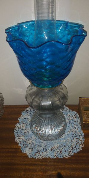 Antique Blue glass lamp electric oil table desk student quilted for Sale in Dover, TN