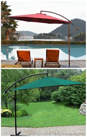 Brand new in box 10 ft Offset Cantilever Umbrella Tilt Adjustable Crank Open UV Protection Water Resistant for Sale in Montebello, CA