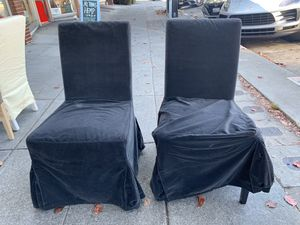 """#100418 Pair of Black Velvet Slip Covered Dining Chair 21.5"""" Wide x 27"""" Deep x 39"""" Tall for Sale in Oakland, CA"""