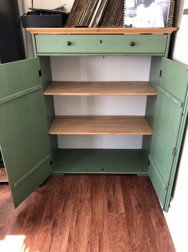 Ikea Hurdal Green Wood Linen Cabinet For Sale In Queens