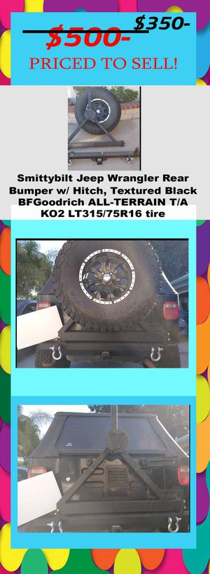 Smittybilt Jeep Wrangler Rear Bumper w/ Hitch, Textured BlackBFGoodrich ALL-TERRAIN T/A KO2 LT315/75R16 tire for Sale in Covina, CA
