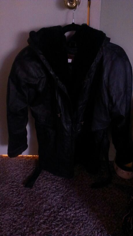 leather coat with hoodie for ladies