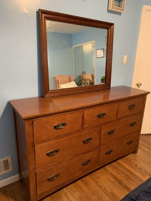 Solid Wood Dresser with Mirror for Sale in Silver Spring, MD