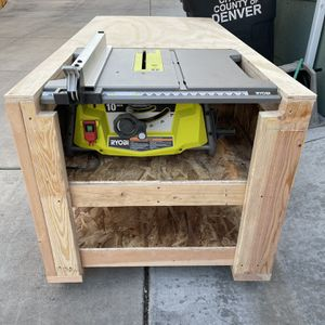 Mobile Workbench with RYOBI 15 Amp 10 in. Table Saw for Sale in Denver, CO