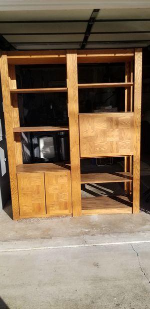 Solid Oak shelf unit with storage for Sale in Fair Oaks, CA