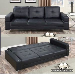 Sofa sleeper bed black leather new for Sale in Los Angeles, CA