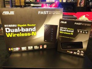 ASUS RT N56U GIGABIT DUAL BAND WIRELESS ROUTER/USB ADAPTER. for Sale in Lakeland, FL