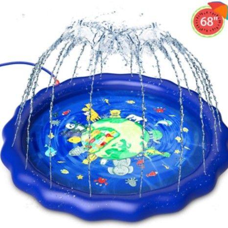 Azssmuk Children's Fountain Mat - Animal Kingdom Sprinkler Splash Pad