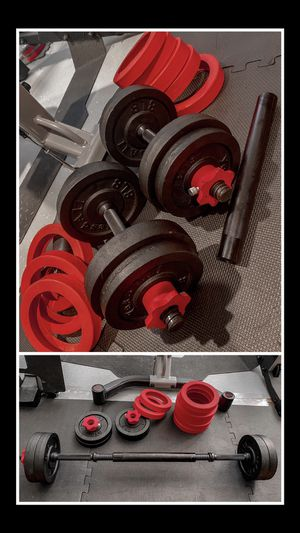 Brand new in box 60 lb adjustable dumbbells with barbell attachment (not negotiable) for Sale in Chula Vista, CA