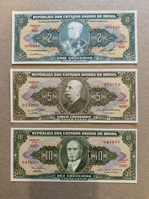 3 Pcs Brazilian Cruzeiros Banknote Set. Brazil Currency, Notes, Billetes, Bills, Tickets, Coins. for Sale in Smyrna, GA
