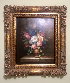 Vintage Flower Painting with Gold Floral Frame for Sale in Germantown, MD