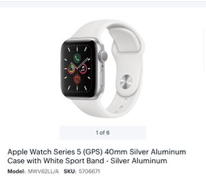 APPLE WATCH S5 SILVER 40mm WHITE SPORT for Sale in Brooklyn, NY