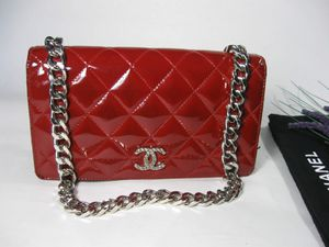 Chanel Red Patent Leather CC Long Full Flap Bag Wallet for Sale in Johnsburg, IL