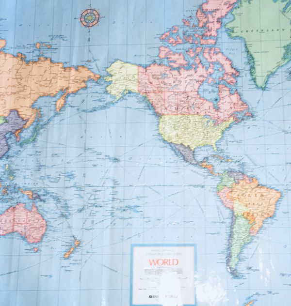 "Rand McNally cosmopolitan series world on Mercator's projection. Laminated (46""x36"")"