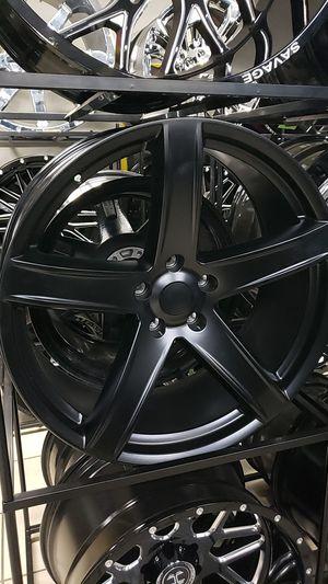 24x10 black rims 5 lug 5x139 on new tires 305 35 24 for Sale in Phoenix, AZ