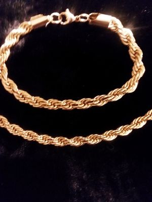 Stainless steel men's chain with bracelet for Sale in Chicago, IL