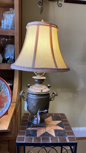 Vintage copper brass lamp, old coffee or cocoa pot not sure, 23 inches tall working as you can see. Wood little handles and knobs the top knobs turn for Sale in West Palm Beach, FL