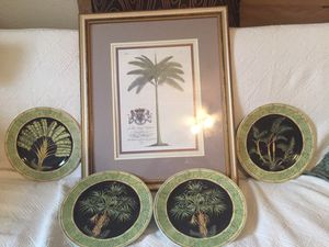 """Wall decor 4 porcelain plates with paintings Palm trees, 10"""" by Siddhia Hutchinson (theme Jungle Safari) for Sale in Jacksonville, FL"""