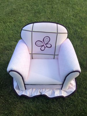 Pink Upholstered Butterfly Embroidered Kids Chair for Sale in South Attleboro, MA