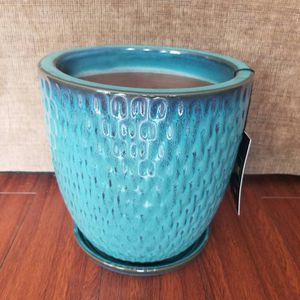 "9.5"" teal ceramic flower pot with saucer for Sale in Hacienda Heights, CA"