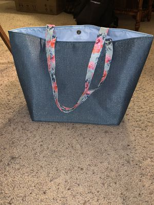 Blue Shimmer Tote with Floral Straps for Sale in Bloomingdale, IL