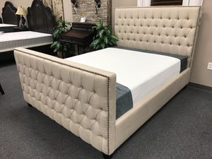 Luxury Tufted Fabric Bed Frame With High Headboard And High Footboard! Twin / Full / Queen / King / Cal King for Sale in San Francisco, CA