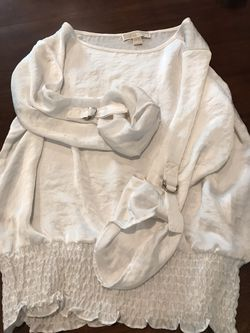 Michael Kors silky 3/4 roll up bottom smocked tunic, L for Sale in Silver Spring,  MD