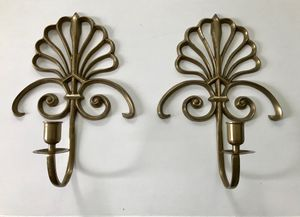 Pair of brass candlestick sconces for Sale in Silver Spring, MD