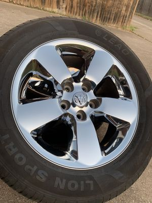 20 INCH ORIGINAL DODGE RAM FACTORY RIMS WITH PRACTICALLY NEW TIRES for Sale in Grand Prairie, TX