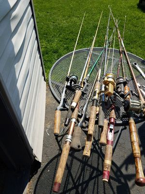 12 vintage fishing pole rods and 4 reels for Sale in Toms River, NJ