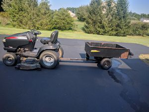 Craftsman Lawn Tractor with Bagger and Cart for hauling for Sale in Swatara, PA
