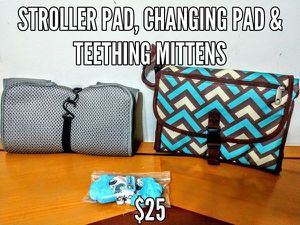 Baby care pack - includes stroller/car seat liner, portable changing pad and teething mittens for Sale in Revere, MA