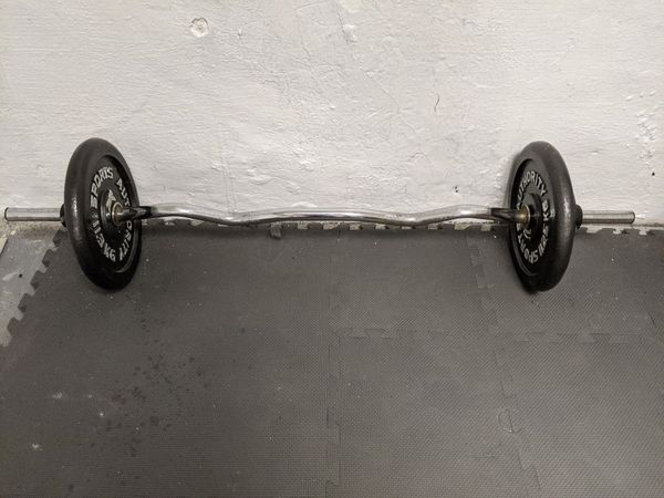 Curl bar with 60lb on it (biceps curl barbell)